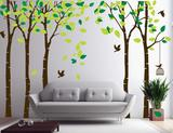 Giant Large Jungle 5 Trees Wall Decals Green Leaves and Fly Birds Wallpaper Wall Decor