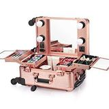 Ovonni Small LED Makeup Train Case, Lighted Rolling Travel Portable Cosmetic $179.99 MSRP