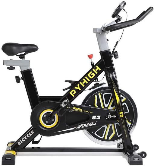 Pyhigh Indoor Cycling Bike Belt Drive Stationary Bicycle Exercise Bikes with LCD Monitor