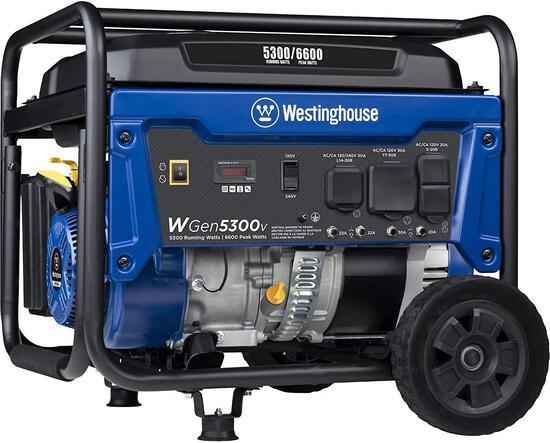 Westinghouse WGen5300v Portable Generator w/ 120/240 Volt Selector 5300/6600 Peak Watts $429.00 MSRP