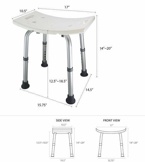 Ez2care Adjustable Lightweight Shower Bench