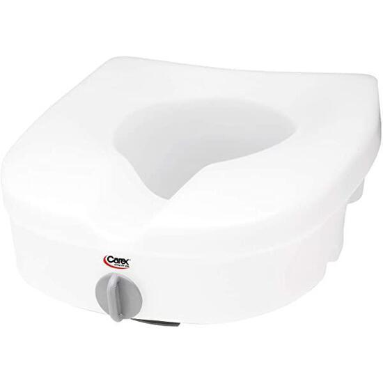 Carex E-Z Lock Raised Toilet Seat, Adds 5 Inches to Toilet Height, Elderly and Handicap Toilet Seat