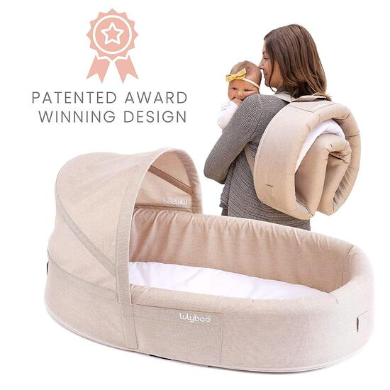 Lulyboo Bassinet to-Go Infant Travel Bed - On The Go Baby Lounger Backpack - Combines Crib