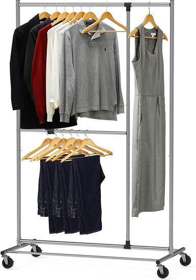 Simple Houseware Dual Bar Adjustable Garment Rack, Chrome, 72-inch Height $29.97 MSRP