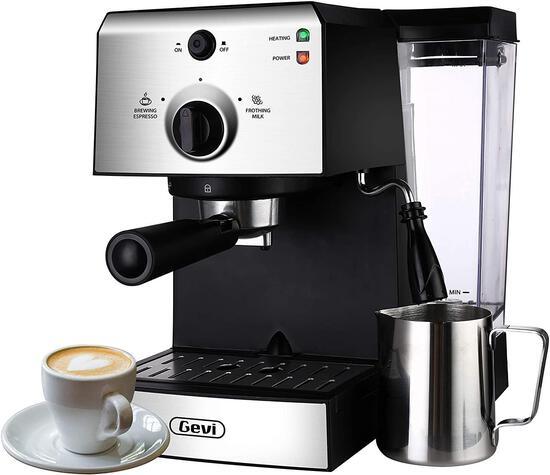 Gevi Espresso Machines 15 Bar Coffee Machine with Milk Frother Wand - $109.99 MSRP