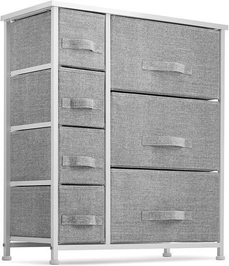 Seseno 7 Drawers Dresser - Furniture Storage Tower, Gray/White (SDH7GW) - $82.99 MSRP