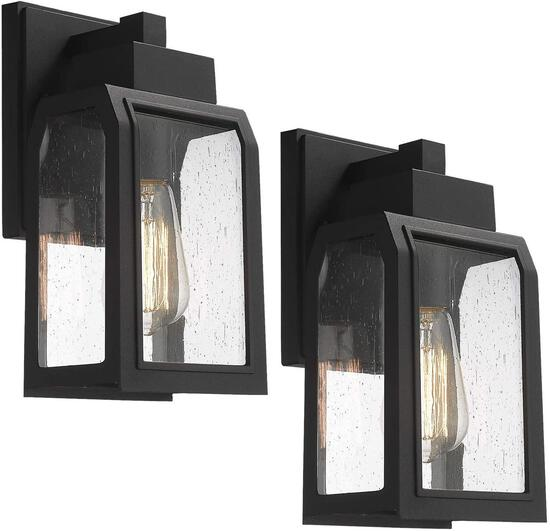 Emliviar Outdoor Wall Lanterns 2 Pack Exterior Wall Sconce in Black Finish with Seeded Glass