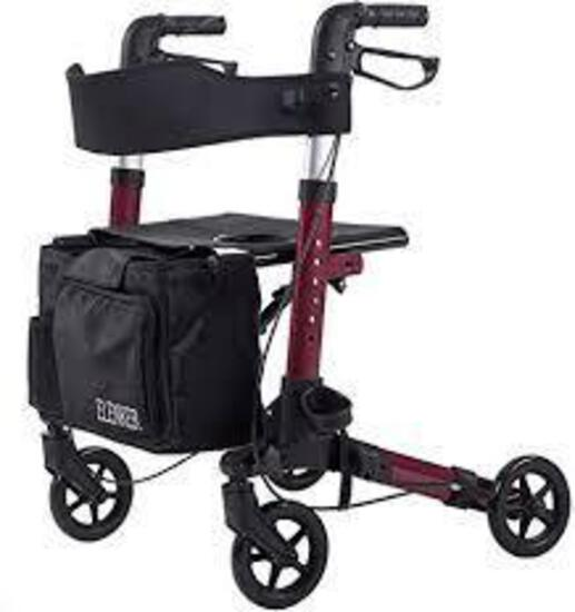 ELENKER Medical Rollator Walker, Foldable Stable Compact Rolling Walker
