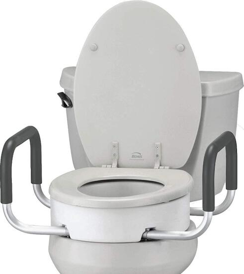 NOVA Toilet Seat Riser with Handles, Raised Toilet Seat (For Under Seat) with Padded Arms