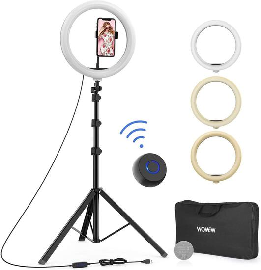 """Wonew 12"""" Selfie Ring Light with Tripod Stand, Flexible Phone Holder, Bluetooth $49.99 MSRP"""