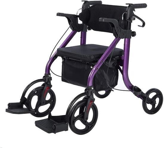 Elenker 2 in 1 Rollator Walker and Transport Chair, Folding Wheelchair, Purple