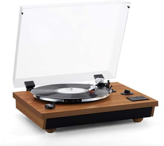 Rcm Wireless 3-Speed Turntable with Stereo Speakers Natural Wood Vinyl Record Player $99.99 MSRP