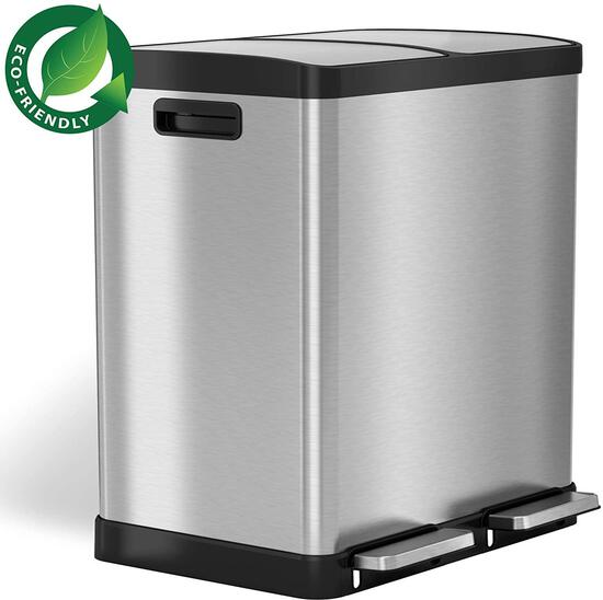 iTouchless 16 Gallon Dual Step Trash Can and Recycle, Stainless Steel Lid and Bin Body $162.31 MSRP