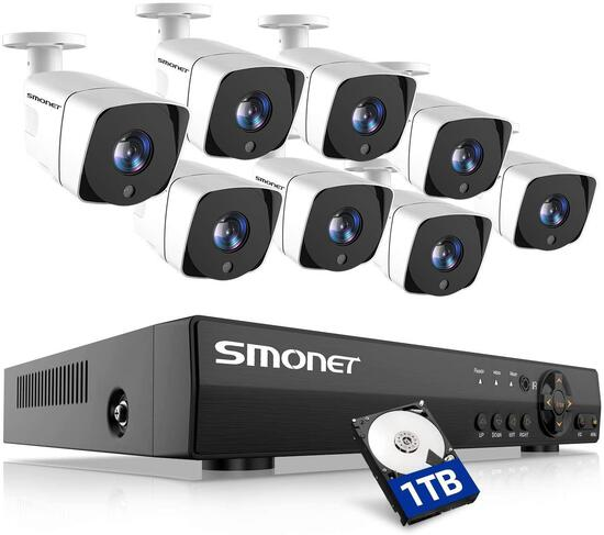 Smonet Wired Security Camera System, 8 Channel 5-in-1 DVR Outdoor Camera System (1TB Hard Drive)