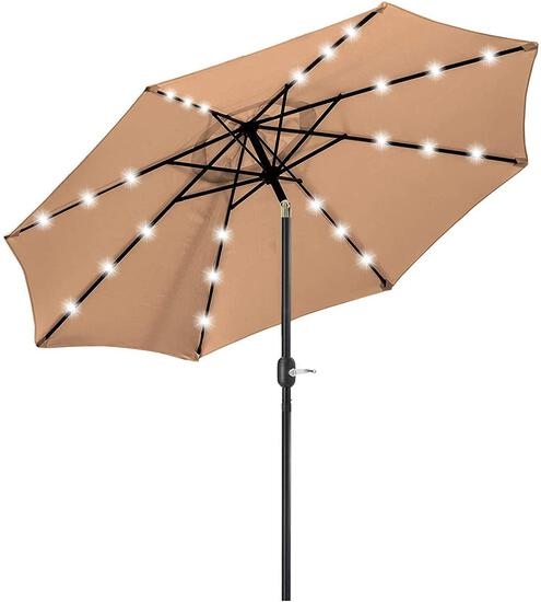 9FT Solar 24 LED Lighted Outdoor Patio Umbrella with 8 Ribs/Tilt Adjustment and Crank $63.98 MSRP