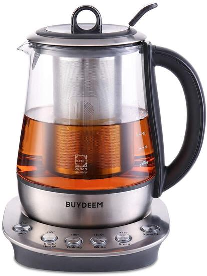 Buydeem K2423 Tea Maker, Durable 316 Stainless Steel and German Schott Glass $119.99 MSRP