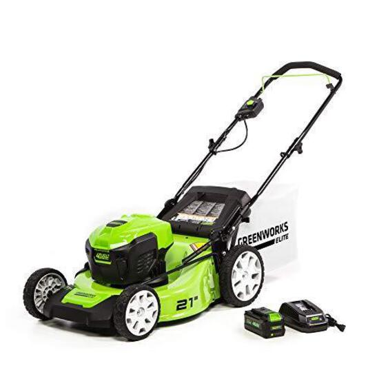 Greenworks M-210 21-Inch 40V Brushless Push Mower, 6Ah Battery and Charger Included