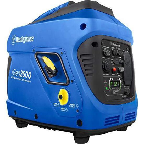 Westinghouse iGen2600 Portable Inverter Generator 2200 Rated 2600 Peak Watts, Gas Powered, CARB Comp