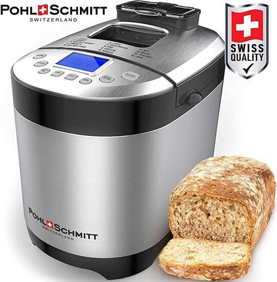 Pohl Schmitt Stainless Steel Bread Machine, 2LB 17-in-1 with Fruit Nut Dispenser, Nonstick Pan