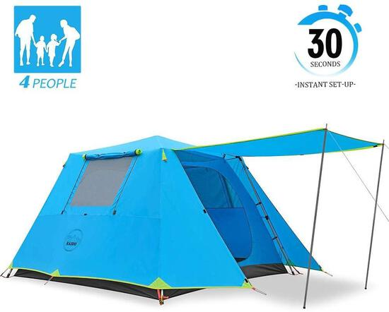 KAZOO Family Camping Tent Large Waterproof Pop Up Tents 4 Person Room Cabin Tent - $133.88 MSRP
