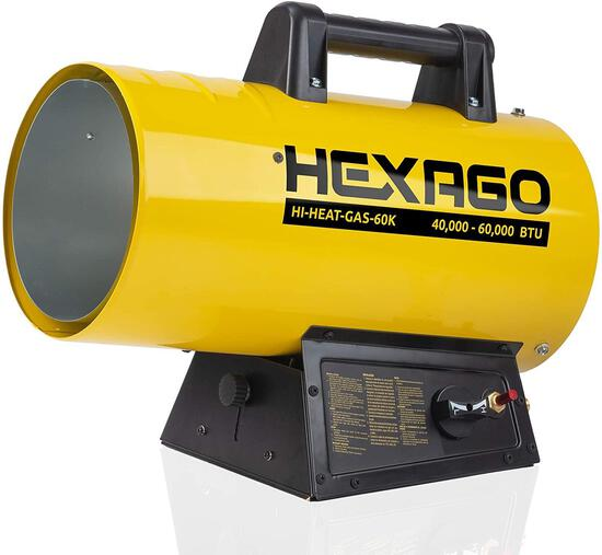 HEXAGO - 60,000 BTU Adjustable Portable Liquid Propane Gas Forced Air Heater $169.99 MSRP