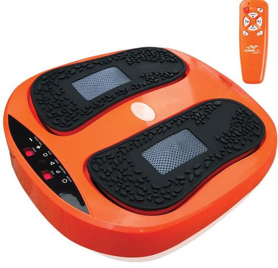 Power Legs Vibration Plate Foot Massager Platform with Rotating Acupressure Heads Multi Setting Elec