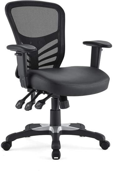 Modway Articulate Mesh Office Chair with Fully Adjustable Vegan Leather Seat In Black -$137.69 MSRP