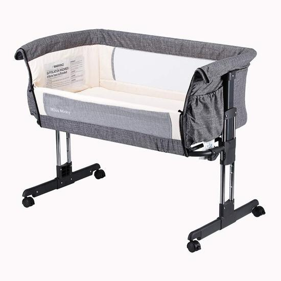 Mika Micky Bedside Sleeper Bedside Crib Easy Folding Portable Crib,Grey (B07J232RV4)