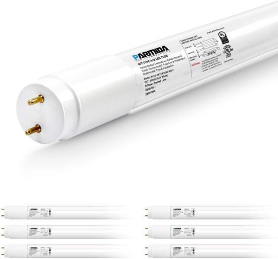 PARMIDA 6-Pack 4FT LED T8 Hybrid Type A+B Light Tube, 18W, 3000K Soft White (PLED-T818W3KV2-AB-F-6P)