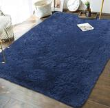 Andecor Soft Fluffy Bedroom Rugs Indoor Shaggy Plush Area Rug for Boys Girls Kids Bab, Light Navy