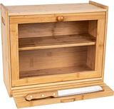 Bread Box for Kitchen Countertop ? 2-Shelf Bamboo Pastry Box with Cutting Board - $56.99 MSRP