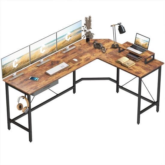 CubiCubi L-Shaped Desk Computer Corner Desk, Home Office Gaming Table, Sturdy Writing Workstation