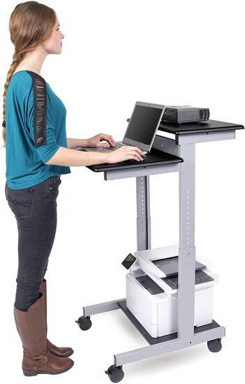 Stand Up Desk Store Rolling Adjustable Height Two Tier Standing Desk Computer $139.00 MSRP