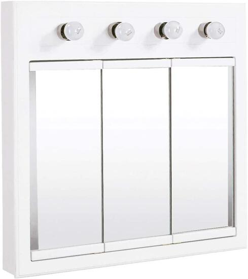 """Design House 532382 Concord Lighted Tri-View Mirrored Medicine Cabinet, White, 30"""" - $285.67 MSRP"""