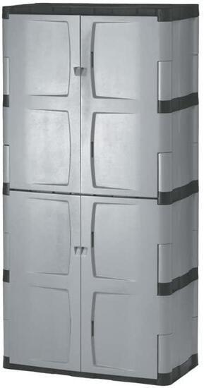Rubbermaid Storage 72 Inch, Four-Shelf, 2 Door Cabinet, Resin Locking Storage Cabinet- $278.47 MSRP