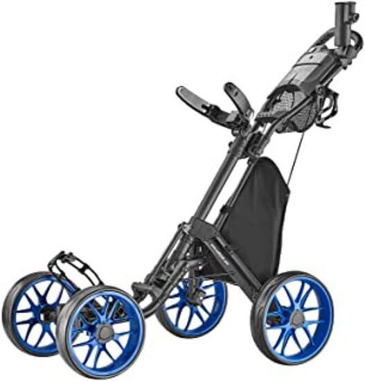CaddyTek 4 Wheel Golf Push Cart - Caddycruiser One Version 8 1-Click Folding Trolley...