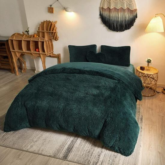 MEGO Luxury Shaggy Duvet Cover Set Ultra Soft Faux Fur Fluffy Comforter Set Fuzzy Bedding $69.99MSRP