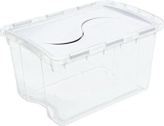 Sterilite 19148006 48 Quart Clear Hinged Lid Storage Box - 3 Pack