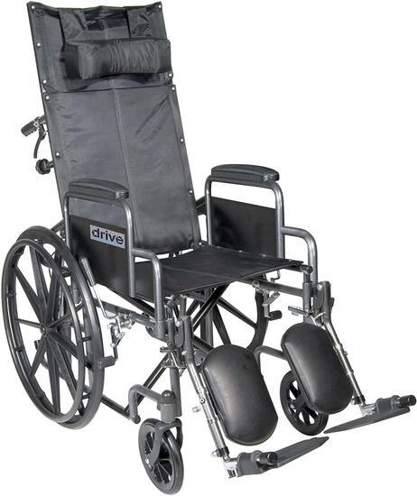 "Drive Medical Silver Sport Reclining Wheelchair, Silver Vein, 18"" (SSP18RBDDA) - $269.99 MSRP"