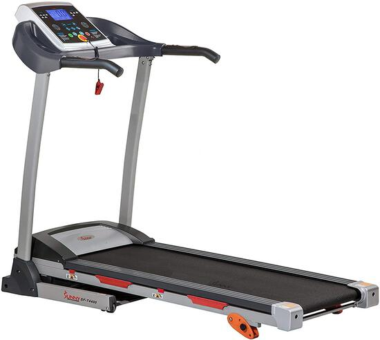Sunny Health and Fitness Folding Treadmill with Device Holder - Gray - $399.00 MSRP
