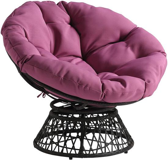 OSP Home Furnishings Wicker Papasan Chair with 360-Degree Swivel,Grey Frame with Purple $183.62 MSRP
