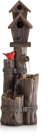 Alpine Corporation WCT1002 Three-Tiered Birdhouse w/Cardinal Fountain, 35 Inch Tall - $159.00 MSRP