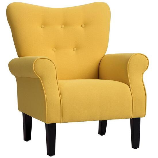 Chinatera Modern Wing Back Accent Chair Roll Arm Living Room Cushion w/Wood Leg Yellow - $220.54MSRP