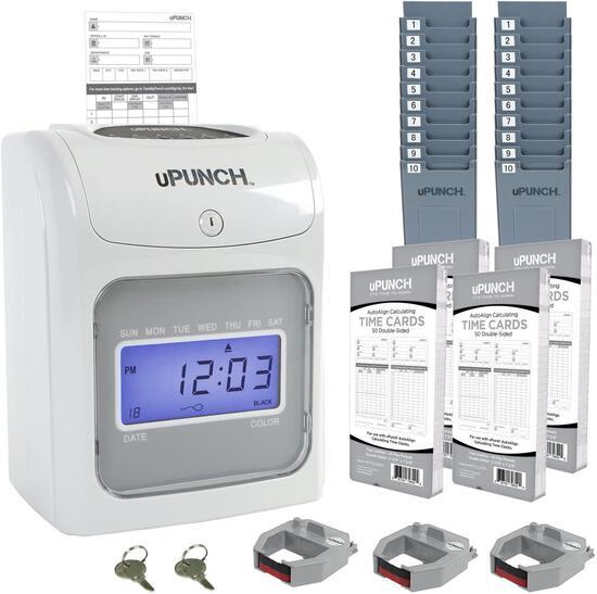 uPunch Time Clock Bundle w/ 200 Cards, 3 Ribbons, 2 Time Card Racks and 2 Keys (HN4500) $125.49 MSRP