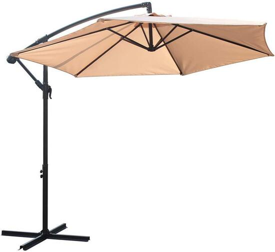 BALI OUTDOORS Patio Umbrellas, 9ft Offset Steel Hanging Outdoor Umbrellas, Beige - $79.99 MSRP