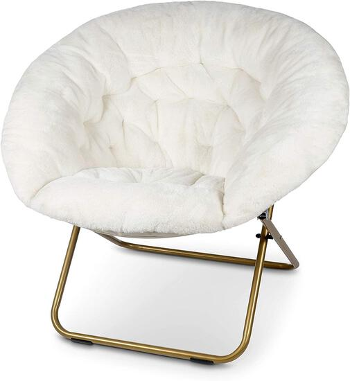 Milliard Cozy Chair / Faux Fur Saucer Chair for Bedroom / X-Large, White - $89.99 MSRP