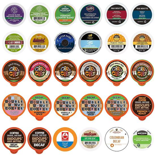 Decaf Coffee Pods Variety Pack Sampler, Assorted Unflavored and...Flavored Coffee Pods - $19.99 MSRP