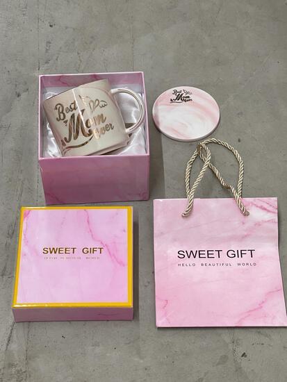 Tergi Birthday Gifts for Mom - Best Mom Ever Mug - Pink Marble Ceramic Coffee Mug and Coaster