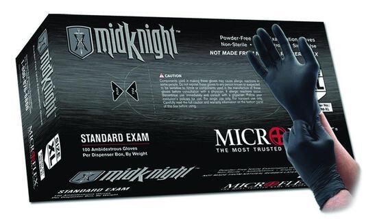 Microflex MK-296-XL MidKnight Black, Powder-Free Exam Gloves, XL, Nitrile (Pack of 100)- $34.52 MSRP