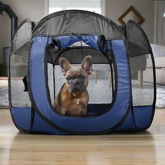Furhaven Indoor-Outdoor Pop Up Exercise Playpen Pet Tent Playground - Blue, Small - $19.99 MSRP